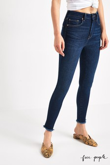 Free People Dark Wash Raw High Rise Jeans