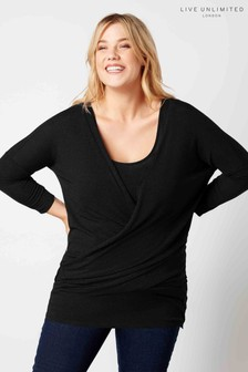 Liver Unlimited Black Wrap Front Knitted Top