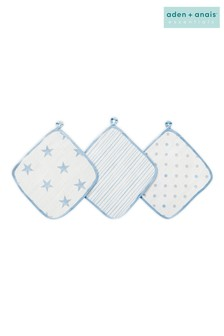 aden + anais Essentials Blue Washcloth Set Three Pack
