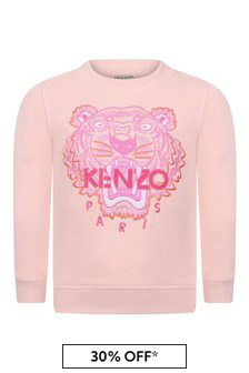 Girls Pink Tiger Cotton Sweater