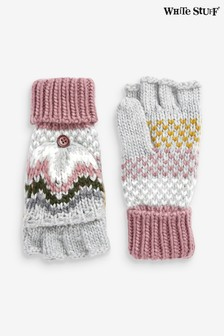 White Stuff Grey Laurel Chunky Flip Mittens