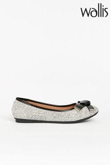 Wallis Brunchie Black/White Folded Bow Trim Ballerina Shoes