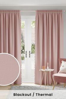 Blush Textured Tassel Pencil Pleat Blackout/Thermal Curtains