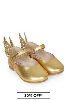 Sophia Webster Girls Gold Evangeline Flats