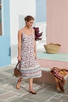 Next Linen Blend Shift Dress Green Floral Print Summer Print Size  6-26