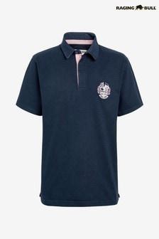 Raging Bull Blue Short Sleeve Signature Rugby Sweatshirt