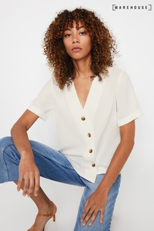Warehouse Short Sleeve Button Front Top