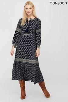 Monsoon Blue Heshna Print Midi Dress
