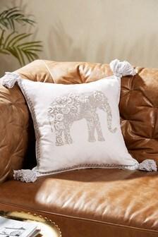 Crewel Work Elephant Cushion