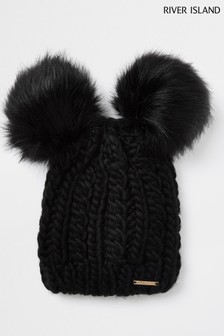 River Island Black Twisted Cable Double Pom Beanie