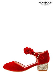 Monsoon Children Red Maia Corsage Strap Velvet Shoes