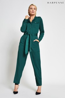 Harpenne Green Military Satin Jumpsuit