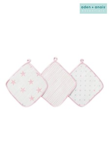 aden + anais Essentials Pink Washcloth Set Three Pack