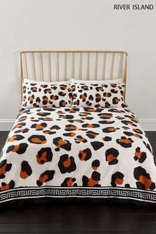 River Island Leopard Border Duvet Cover And Pillowcase Set