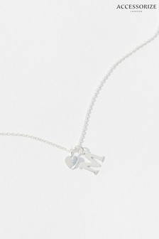 Accessorize Silver Sterling Heart Initial Necklace - M
