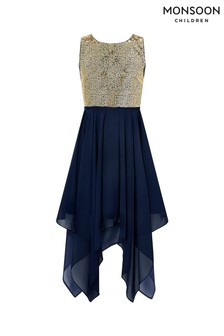 Monsoon Navy Kendall Hanky Hem Prom Dress