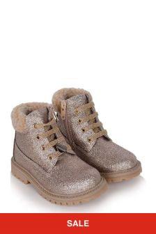 Girls Gold Glitter Fleece Lined Boots