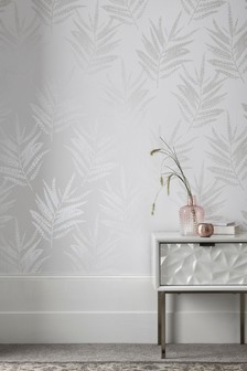 Paste The Wall White Mica Leaf Wallpaper
