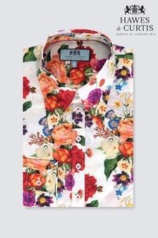 قميص مظهر عتيق Botanic تفصيلة ضيقة مشجر أبيض من Hawes & Curtis