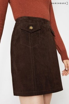 Warehouse Brown Suede A-Line Mini Skirt