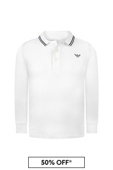 Boys White Cotton Pique Poloshirt