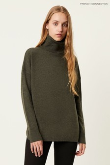 French Connection Green Ribbed Jumper