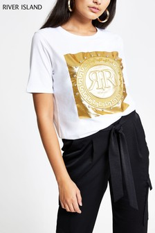 River Island White Print Embossed Foil Box T-Shirt