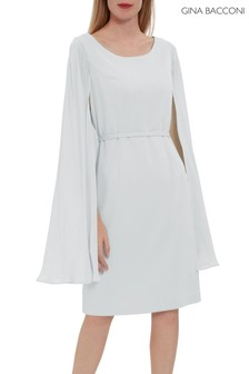 Gina Bacconi Bevin Crepe And Chiffon Cape Dress