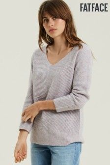 FatFace Purple Heather V-Neck Jumper