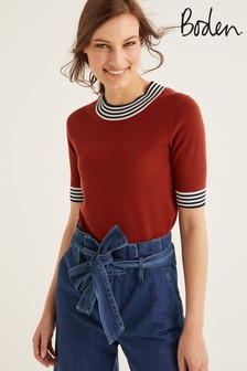 Boden Brown Rachel Knitted T-Shirt