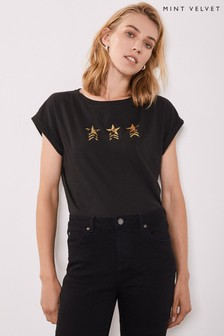 Mint Velvet Black Military Star T-Shirt