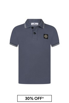 Boys Blue Cotton Pique Polo Top