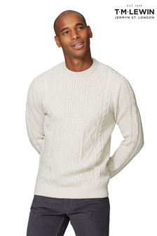 T.M. Lewin Skye Ecru Crew Neck Slim Fit Cable Knit Jumper