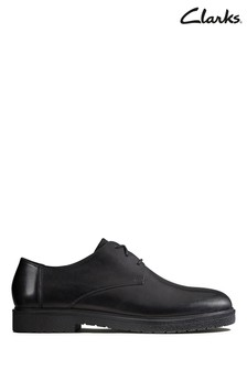 Clarks Black Ashcroft Plain Shoe