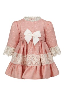 Baby Girls Pink Lace Trim Dress