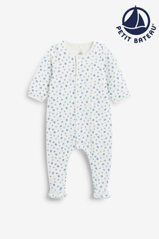 Petit Bateau White/Blue Sailboat Sleepsuit