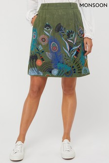 Monsoon Green Hallie Embroidered Skirt