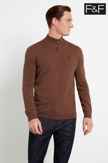 F&F Orange Russet Lambswool Zip Jumper