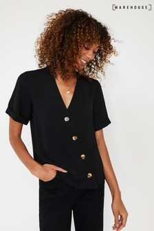 Warehouse Black Short Sleeve Button Front Top
