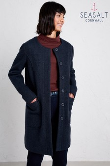 Seasalt Blue Charcoal Burner Coat