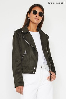 Warehouse Green Faux Suede Biker Jacket