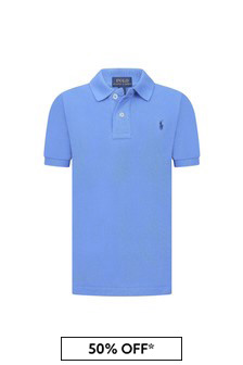 Ralph Lauren Kids Boys Blue Pique Polo Shirt