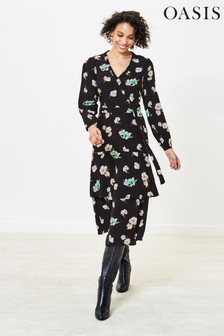 Oasis Black Floral Ruffle Midi Dress
