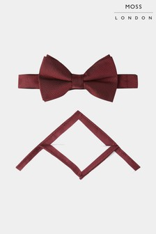 Moss London Wine Textured Bow Tie And Hankie Set