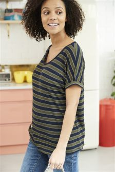Maternity Metallic Stripe T-Shirt