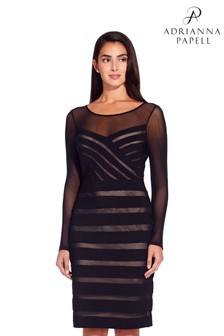 Adrianna Papell Black Illusion Banded Sheath Dress