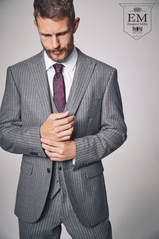 British Wool Striped Regular Fit Suit