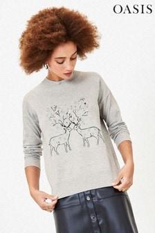 Oasis Grey Reindeer Sparkle Jumper
