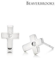 Beaverbrooks Childrens Diamond Cross Stud Earrings