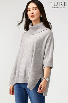 Pure Collection Grey Oversized Poncho With Cashmere